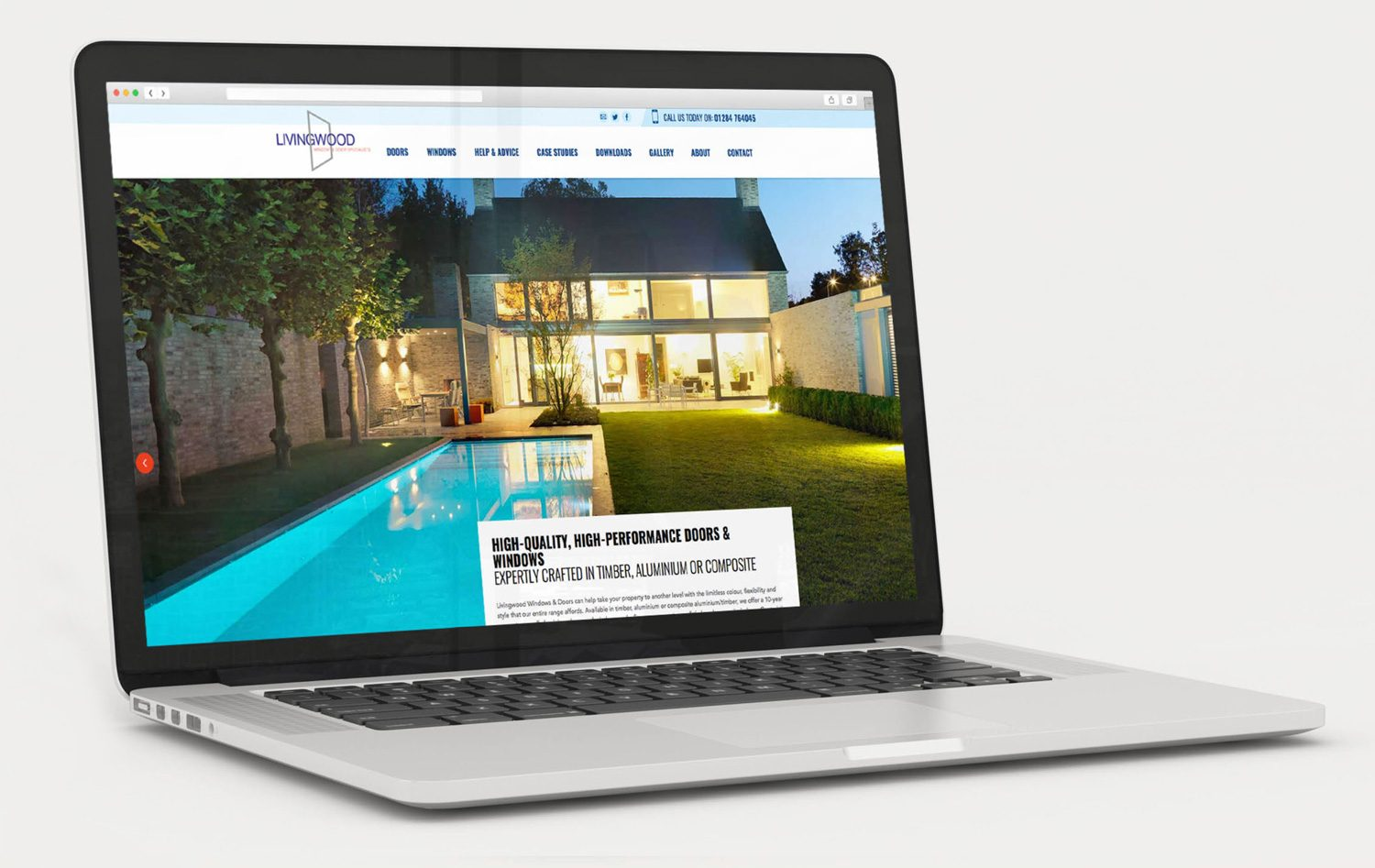 Laptop showing Jump Agency's site for Livingwood