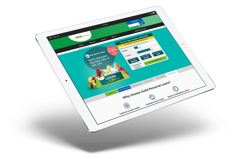 Asda Loans site on iPad